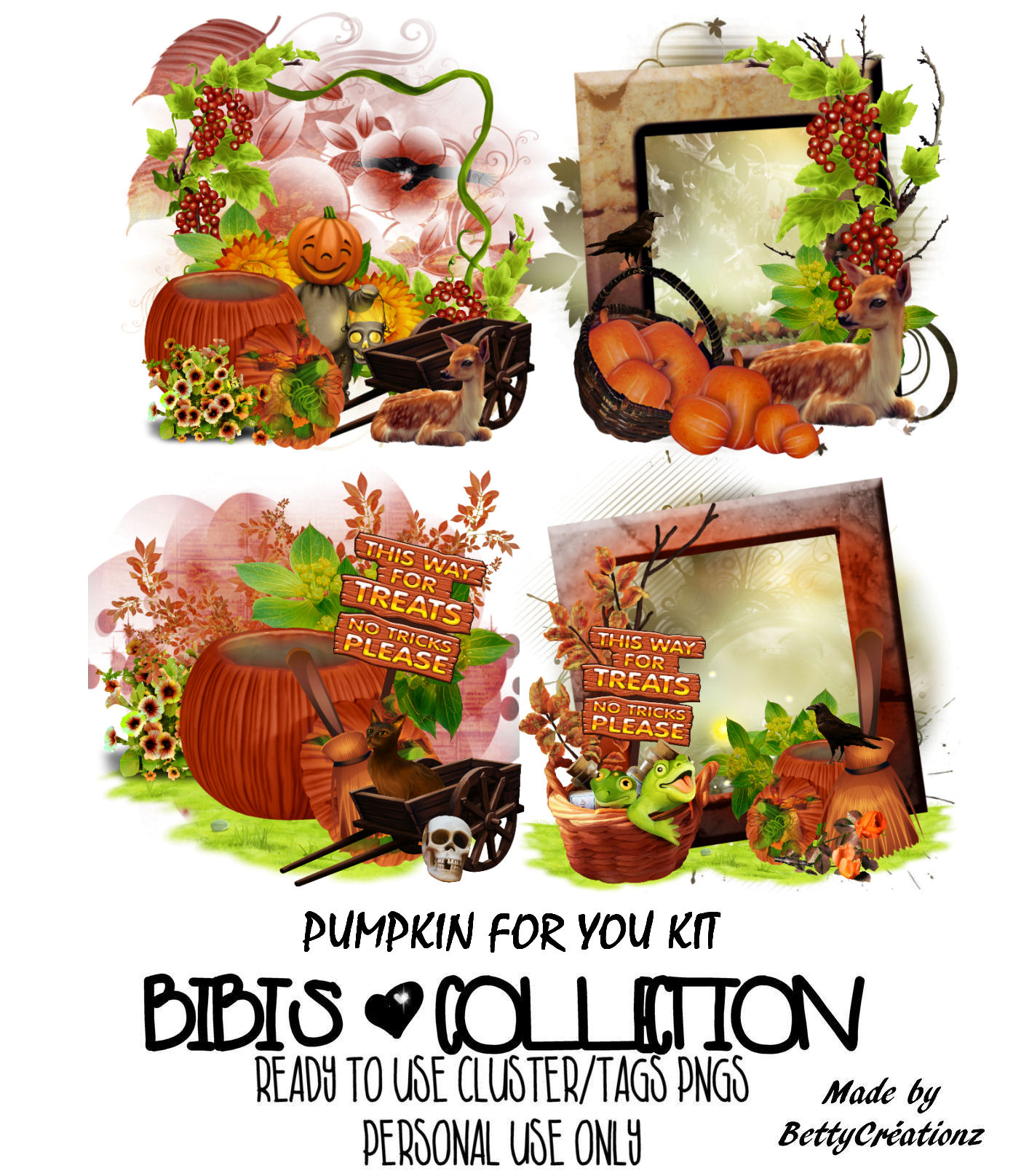 PUMKIN FOR YOU READY CLUSTER TAGS PNG BY BETTY